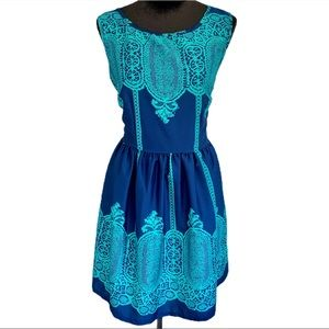 UP by ULTRA PINK Blue & Teal Moroccan Print Dress